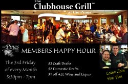 Members Happy Hour @ The Clubhouse Grill at the Pines